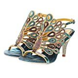 Genuine Leather Fashion And Sexy Rhinestone Wedding And Party Evening Dress Sandals Big Size 35-44, New Women Sandals Shoes blue thin heels 38