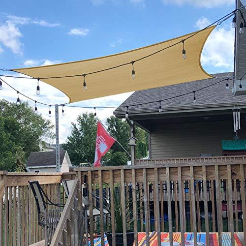 UPGRADE 7 x13 Sun Shade Sail Rectangle Sand Outdoor UV Block Sail Shades for Patios Yard Backyard Pergola Garden