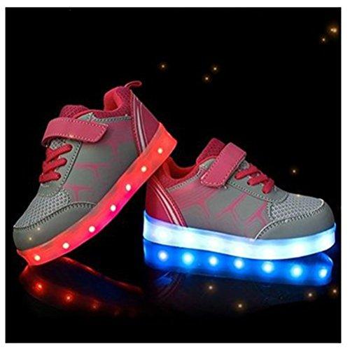 (Present:kleines Handtuch)JUNGLEST® Kinder Jungen M?dchen Bunte LED Leuchtet Sportschuhe Sneakers Athletische Grau