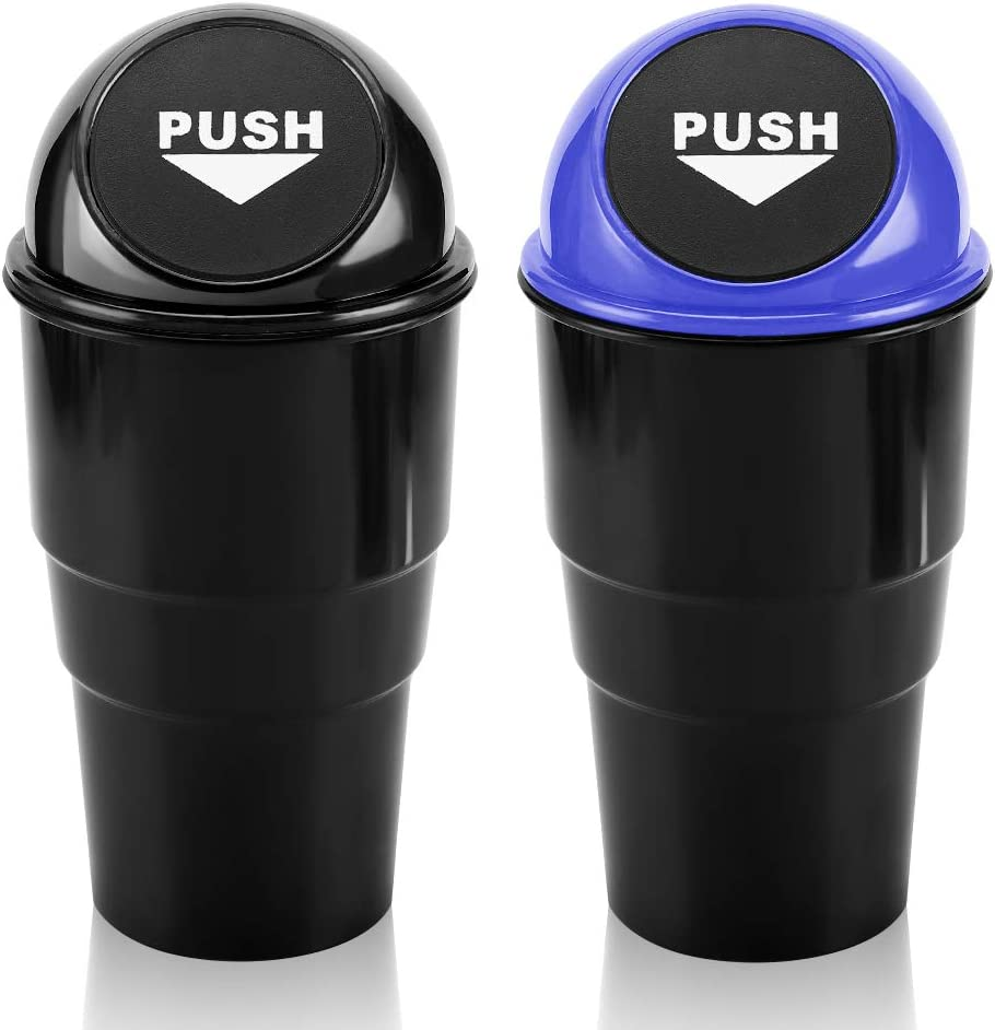 Car Trash Can and Garbage Bag Set Office Black + Blue 2 Pack Mini Garbage Bin Trash Container for Cars Home Accmor Vehicle Trash Bin Cup Holder Auto Dustbin Garbage Organizer Storage