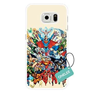 Onelee Samsung Galaxy S6 Edge Case, Customized Justice League White Hard Shell Samsung Galaxy S6 Edge Case, Justice League Galaxy S6 Edge Case(Only Fit for Galaxy S6 Edge)