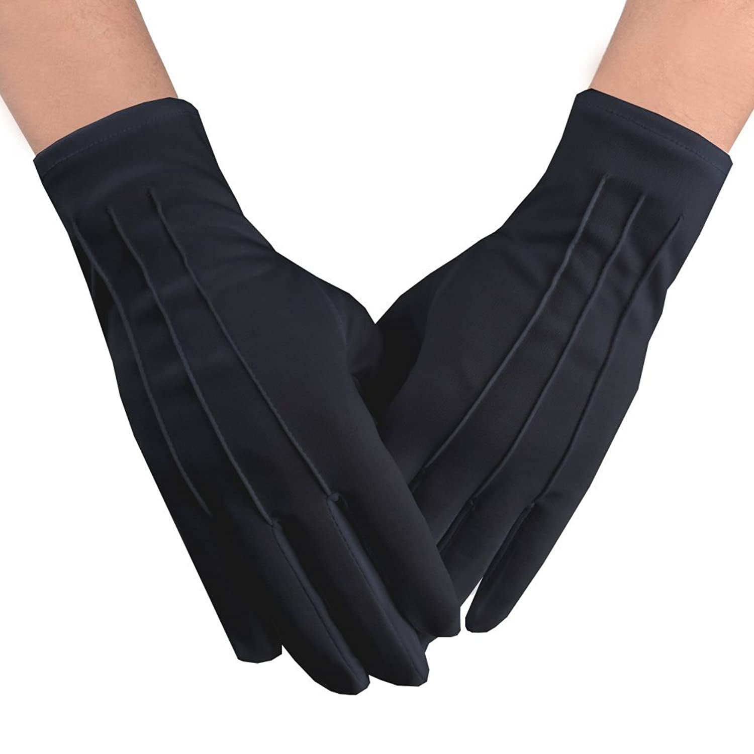 Edwardian Men's Formal Wear Men Black Cotton Gloves  AT vintagedancer.com