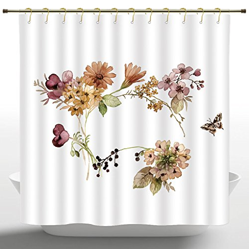 (Ethnic Shower Curtain by iPrint,Rustic Home Decor,Flower Bouquet in Watercolors Gerbera Daffodil Poppy Daisy Composition,Multicolor,Fabric Bathroom Decor Set with Hooks,72 Inches)