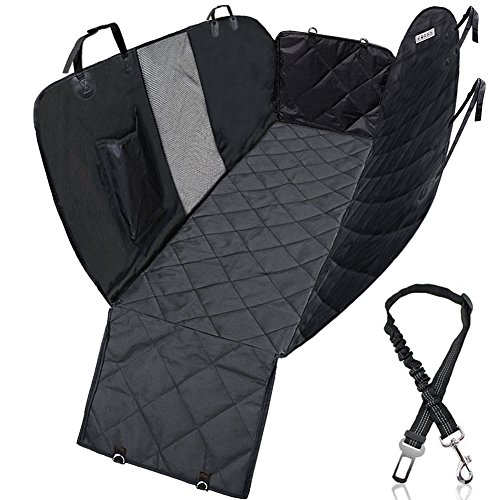 KQRNS Dog Seat Cover for Back Seat Pet Car Seat Cover Dog Hammock for Back Seat Cover for Pets with Mesh Window Side Flap for Cars Trucks and SUVs Padded Waterproof Nonslip Stain-proof Scratch-proof - Proof Classic Oxford