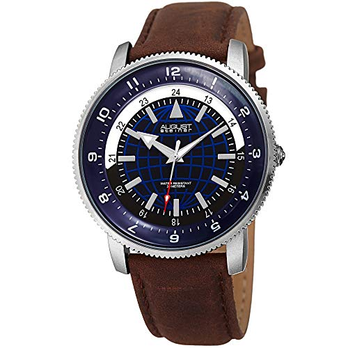 August Steiner Genuine Leather Men's Watch - Soft and Rugged Brown Nubuck Leather Strap, Printed Globe Dial with 24 Hour Markers - AS8213SSBU