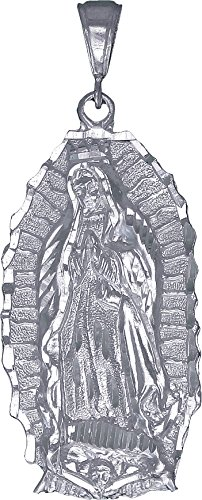 eJewelryPlus Sterling Silver Virgin Mary Pendant Necklace Large 2.6 Inches 8 Grams
