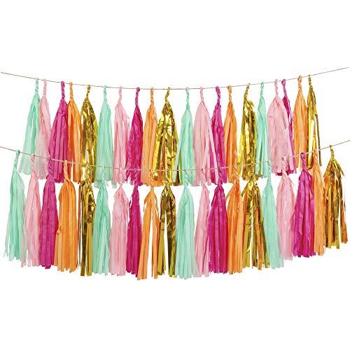 Lings moment 20 PCS DIY Tassel Garland, Set of 2, Tissue Paper Tassel Fiesta Fringe Banner Pompom for Wedding, Bachelorette, Baby Shower, Birthday,Home Decorations(Gold,Mint,Pink,Orange)