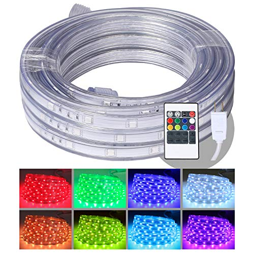 LED Rope Lights, 16.4ft Flat Flexible RGB Strip Light, Color Changing, Waterproof for Indoor/Outdoor use, Connectable Decorative Lighting, 8 colors and Multiple Modes by Areful