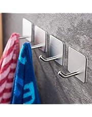 Angou 4 stuks zelfklevende handdoekhaken, zonder boren, wandhaken, kleefhaken, roestvrij staal, voor keuken en badkamer, 4,5 x 4,5 cm