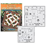 Bundles of Creative Grids Non-Slip Curvy Log Cabin Trim Tools for 8 in Finished Blocks and 6 inch Finished Blocks; and Book Curvy Log Cabin Quilts by Jean Ann Wright