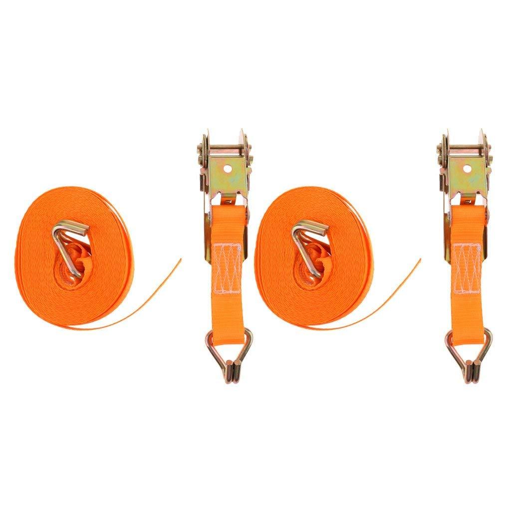SGerste Set of 2 Heavy Duty 20 FT 25mm x 6m Polyester Ratchet Tie Down Straps Orange