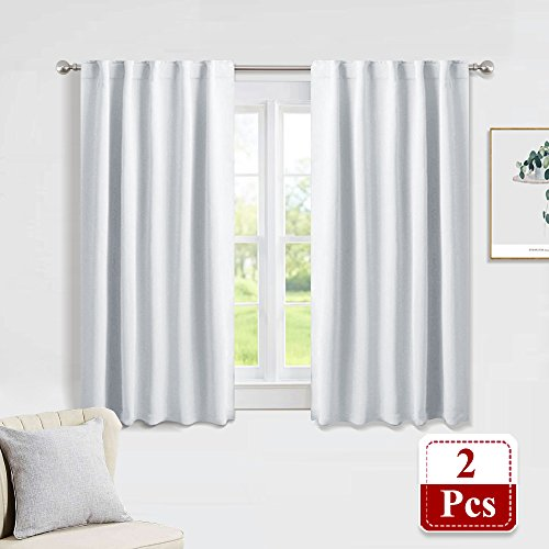 Window Panel Treatments (PONY DANCE Silver White Bedroom Curtains Set - Room Darkening Back Tab/Rod Pocket Window Treatments Privacy Protect/Blackout Curtain Panels for Dining Room, 42