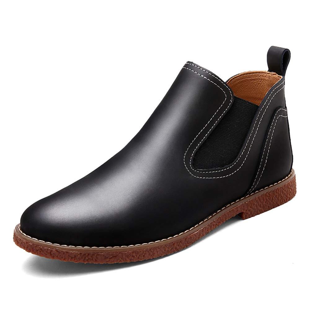 HILOTU Chelsea-Stiefel für Herren, Mode-Kleiderschuhe Britischer Stil Einfarbig Einfacher Slip-On-Stiefelette