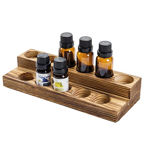 MyGift 2-Tier Burnt Wood Essential Oil Display Stand, Cosmetic Organizer Rack - Holds up to 11 (20ml) Bottles (Display Oil Essential)