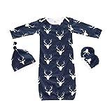 : Kids Tales Baby Sleepwear 3pcs Wearable Blanket Reindeer Sleeper Gown Mittens Hat Navy