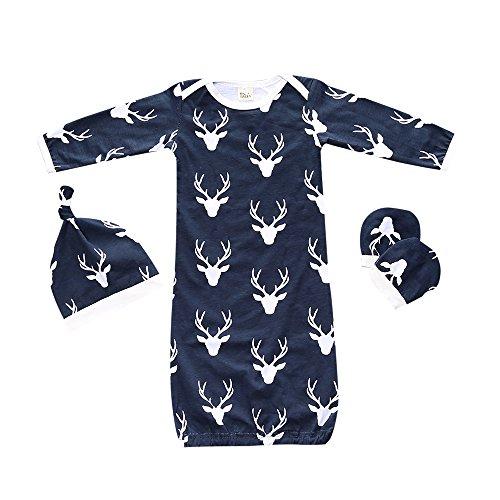 Summer Fall 3pcs Baby Sleepsack Wearable Blanket Deer Blue Gown Sleeping Bag from Kids Tales