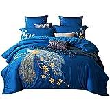 Svetanya Blue Peacock Duvet Cover Set Flat Sheet Pillow Cases 800TC Soft Egyptian Cotton Fabric 4Pcs King Size Bedding Sets