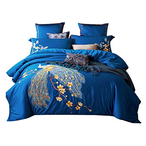 Svetanya Blue Peacock Floral Duvet Cover Set 800TC Soft Embroidery Egyptian Cotton Bed in Bag 4 pieces Queen Size 78