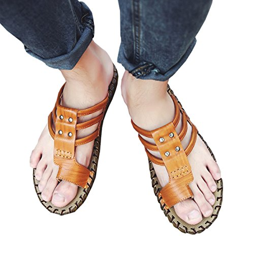 Dfb Summer Men Sandals Trend Authentic Casual Cool Chaussons Sandales Hommes Chaussons Faits à La Main Pour Hommes,GoldenYellow-41