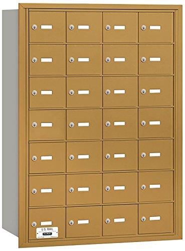 Salsbury Industries 3628GRU 4B Plus Horizontal Mailbox, 28 A Doors, Rear Loading, USPS Access, Gold