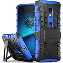 Motorola Moto X Play Case, Fosmon [HYBO-RAGGED] Dual Layer Protection Heavy Duty Hybrid Cover with Built In Kickstand for Moto X Play / DROID MAXX 2 (Blue)