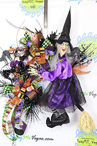 Animated Whimsical Witch Wreath, Witch Door Wreath, Halloween Witch Wreath, Witch Grapevine Wreath, Spooky Witch Decor, Halloween Door Decor ()