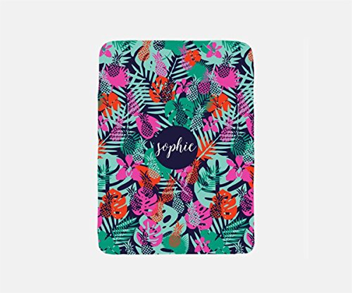 Tropical Blanket Personalized, Travel Blanket Airplane, Pineapple Blanket Throw, Summer Blanket