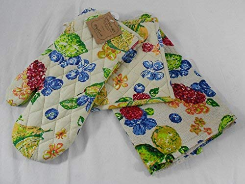 April Cornell KItchen Linen Set Dish Towel, Pot Holder & Oven Mitt