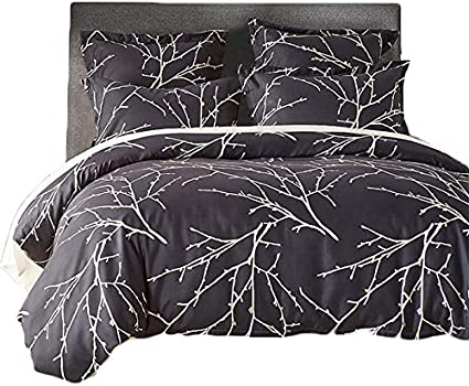 Cysincos Duvet Cover Set Twin 69''x 90'', 2 Pcs Ultra Soft Bedding Set with Zipper Closure, Black Branch Printed Quilt Cover - 1 Duvet Cover,1 Pillow Shams