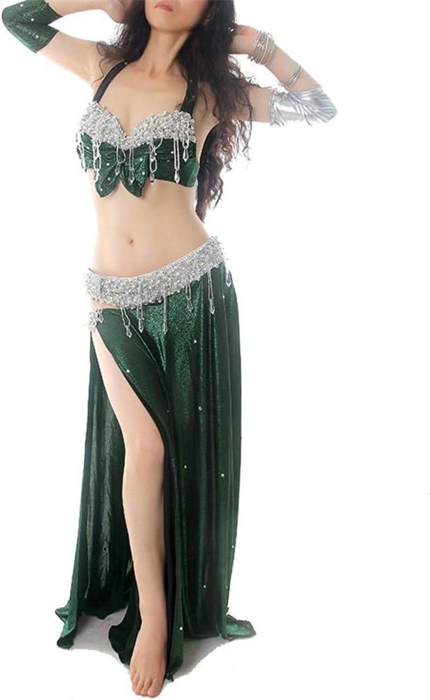 チェスト&ヒップスカーフワンサイズ、4色と女性のベリーダンス衣装ブラトップ ベリーダンススカート (色 : 緑, サイズ : M) 緑 Medium
