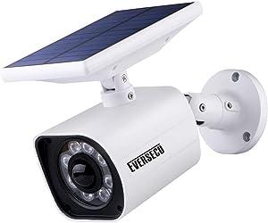 Outdoor Motion Sensor Solar Lights Dummy Security Camera - 800Lumens 8 LED Spotlight 5-Watt Solar Lights Outdoor IP66 Waterproof, Wireless Solar Flood Light for Porch Garden Patio Driveway Pathway