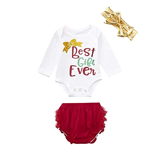 7fd1510c3d7 Amazon.com  ZOMUSAR 3PC Newborn Baby Girls Christmas Letter Print Romper+Shorts+Headband  Set Clothes  Clothing