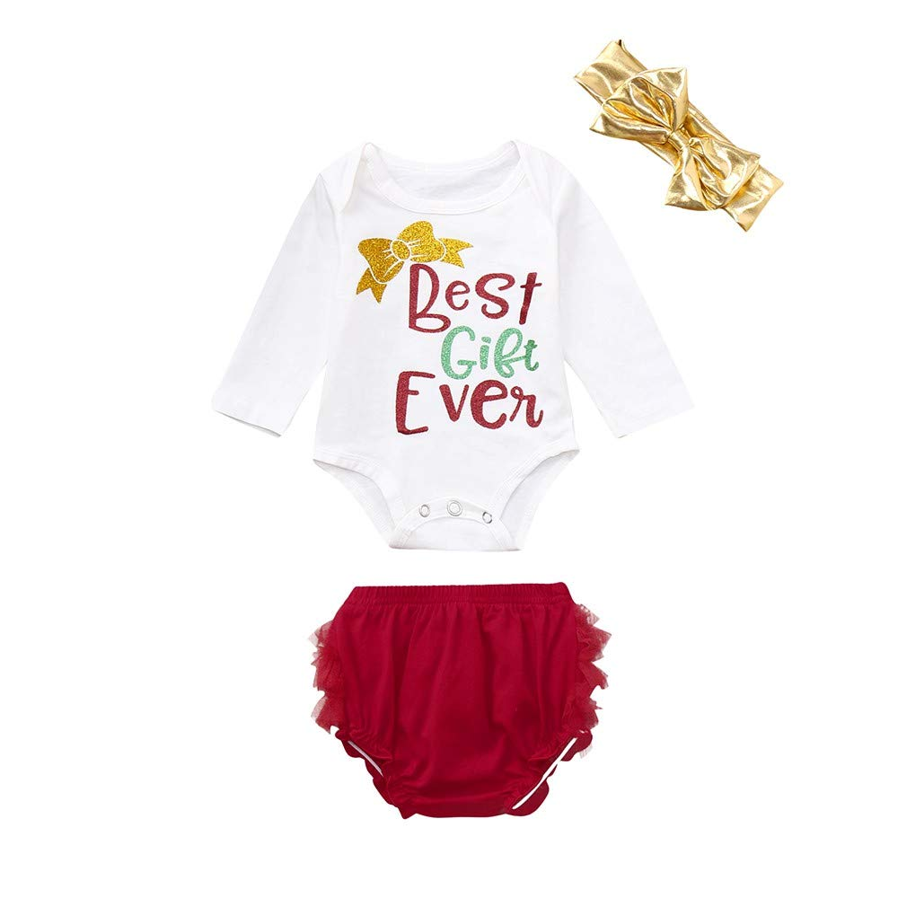 f2127cd1c9b 3Pcs My First Christmas Santa Clothes Set Xmas Toddler Newborn Infant Baby  Boy Girl Deer Long Sleeves Romper Tops+Pants+Hat Outfits Pajamas   Amazon.co.uk  ...