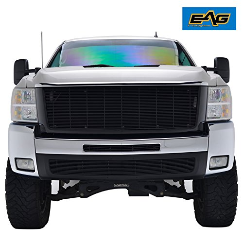 EAG 07-10 Chevy Silverado 2500/3500 Black Replacement Grille Aluminum Billet Packaged Upper Grill