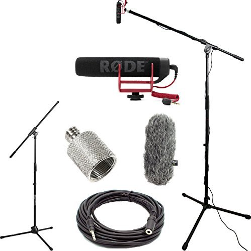 RODE VideoMic GO Studio Boom Kit - VideoMic GO, Wind Muff, Boom Stand, Thread Adapter, and 25' Cable by DVESTORE
