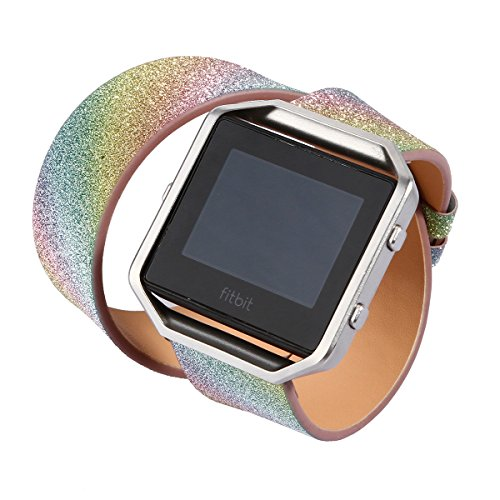 KuToo for Fitbit Blaze Band Large Small, Leather Flash Glitter Bling Band Wristband Strap Replacement Band for Fitbit Blaze Smart Watch Tracker (Double Tour Rainbow) ()