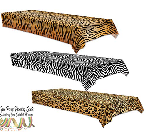 Curated Nirvana Wild Stripes Animal Print Table Cover Bundle | Tiger, Zebra & Leopard Print Jungle Theme Table Cloths -