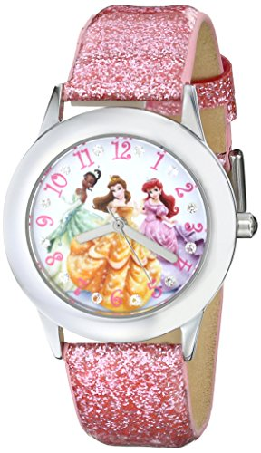 Disney Kids' W000408 Disney Tween Glitz Princess Stainless Steel Watch With Pink Glitter Leather Band