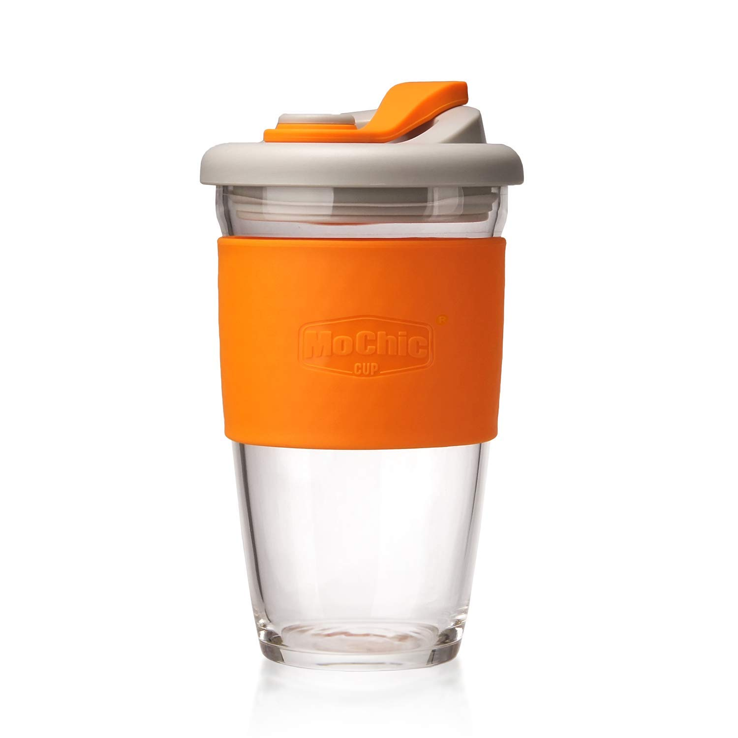 MOCHIC CUP Reusable Glass Coffee Travel Mug with Lid and Non-slip Sleeve Dishwasher and Microwave Safe Cup Portable Durable Drinking Tumbler Eco-Friendly BPA-Free (Orange, 16 OZ)