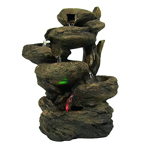 Sunnydaze 6-Tier Staggered Rock Falls Tabletop Fountain with Colored LED Lights (Rock Fountain Wall)