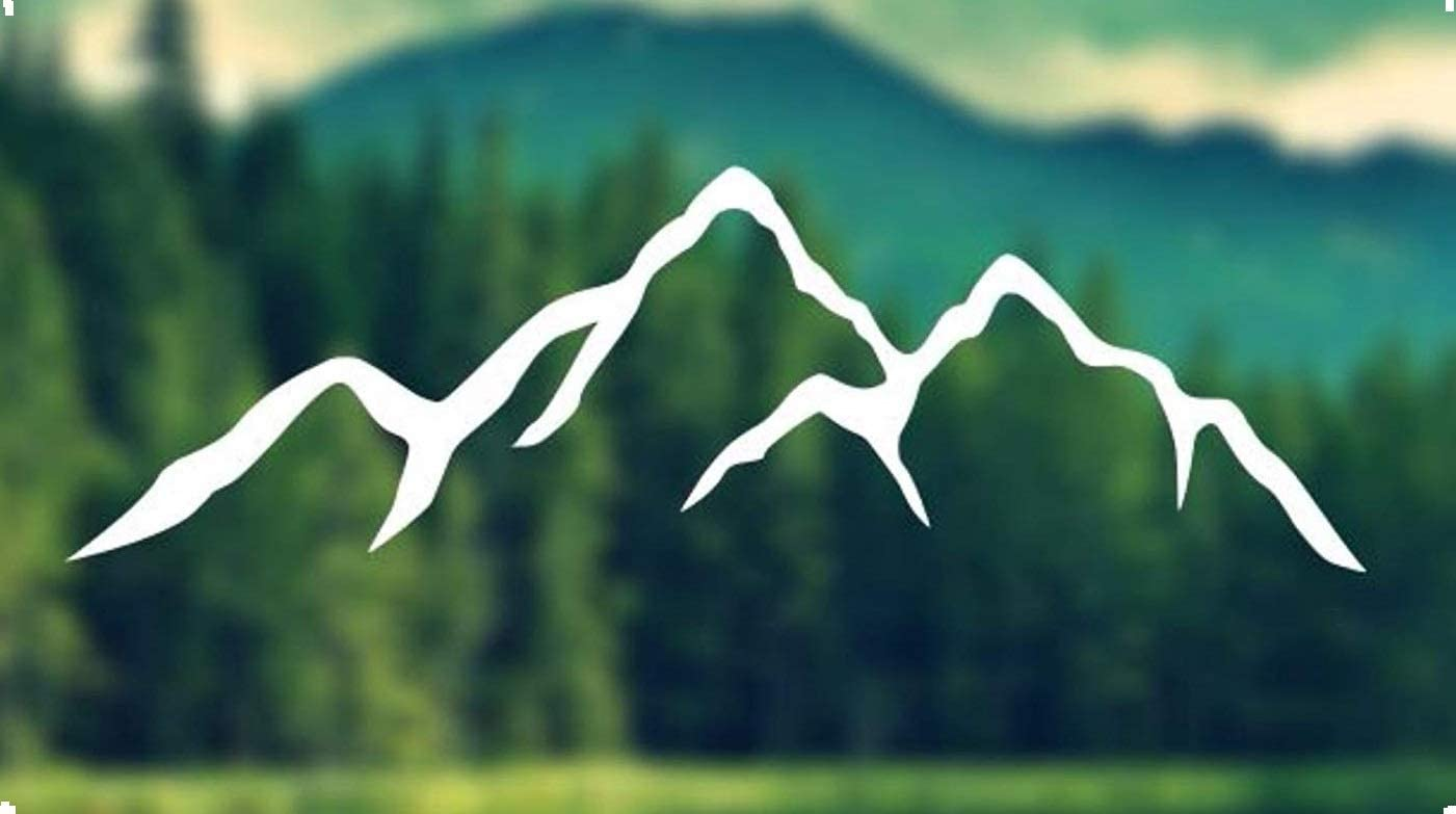 """H-Tradings Decal - Mountains Silhouette - Car Decal, Laptop Decal, MacBook Decal, IPAD Decal 3"""" x 9"""" Approximately, White"""