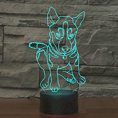 Club Collection Table Lamp - Animal Dog Husky 3D Illusion Night