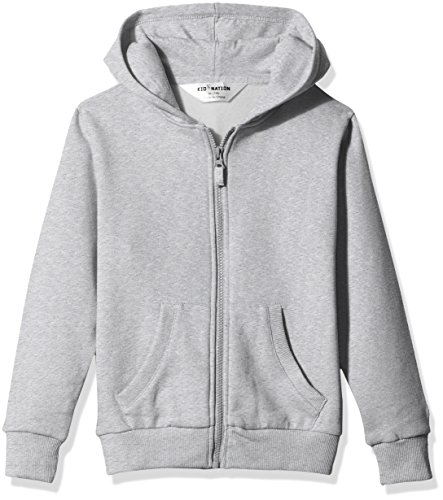 Kid Nation Kids' Brushed Fleece Zip-Up Hooded Sweatshirt for Boys or Girls Small Gray Heather (Shirt Logo Sweatshirt Hooded Hoodie)