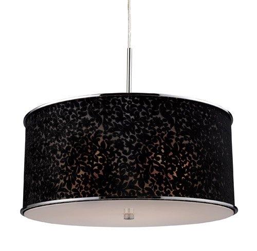 - Elk Lighting Fabrique Drum Pendant - Chrome - Velvet Shade