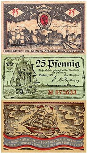 (DE 1920 SUPERB SAILING SHIPS on 3 DIFF RARE ORIGINAL 1920 GERMAN BANKNOTES! Choice Crisp Uncirculated)