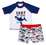 Baby Boys Two Pieces Swimsuit Set Kids Cartoon Animal Swimwear Rashguard Bathing Suit UV Sun Protective White 4T