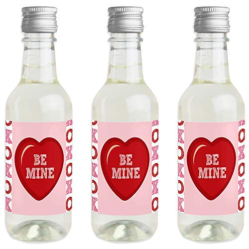(Conversation Hearts - Mini Wine and Champagne Bottle Label Stickers - Valentine's Day Party Favor Gift for Women and Men - Set of 16)