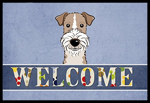 Caroline's Treasures BB1433JMAT Wire Haired Fox Terrier Welcome Indoor or Outdoor Mat, 24 x 36