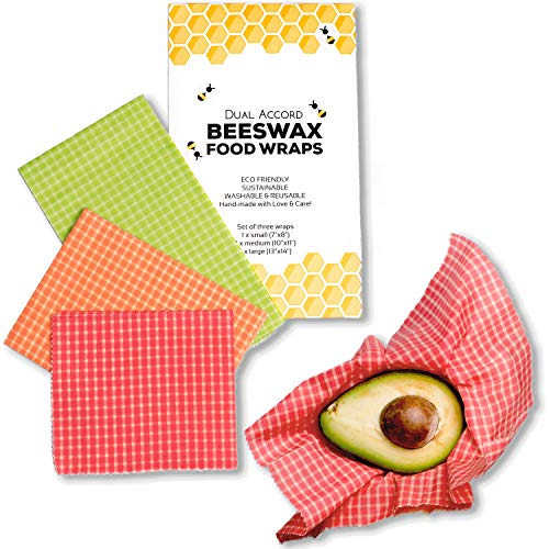 Beeswax Wrap - Zero Waste Food Wraps Reusable | Eco Friendly, Sustainable, Biodegradable, Plastic Free Food Storage Alternative to Plastic Wrap | 3 Pack Multicolor Plaid Wraps (Green, Orange, Red)