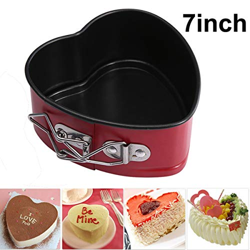SunTrade Love Heart Shape Cake Pan,Non-Stick 7 Inches with Removable Bottom,for DIY Baking Cake Cheese Springform - Heart Non Stick Cake Pan